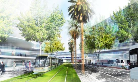 Perspective pôle d'échanges multimodal Nice -Saint Augustin- Aéroport - ©EPA/Mat